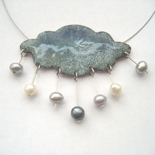 Welsh raincloud necklace