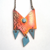 Marrakech beaten copper and enamelled necklace