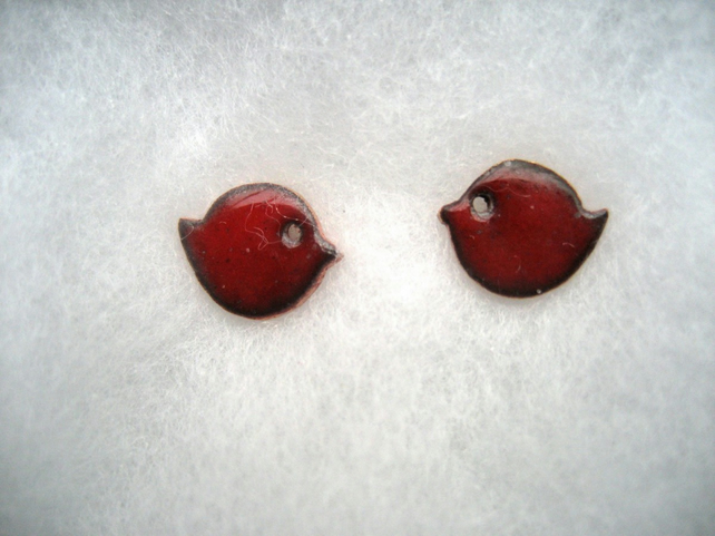 Deep red enamelled little bird stud earrings