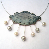 Welsh raincloud enamelled necklace with freshwater pearls