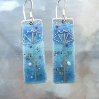 Cow Parsley earrings in enamelled fine silver
