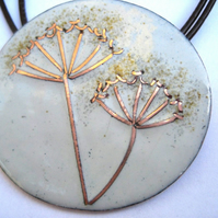 Cow Parsley enamelled necklace with copper wirework