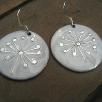 Dandelion seedhead enamelled earrings