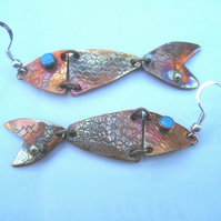 Textured copper fish earrings with enamel eye and sterling silver water bubble!