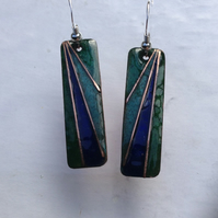 Deco style enamelled copper earrings
