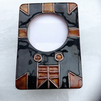Tribal Enamelled photo frame in copper with copper wirework