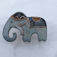 CIRCUS ELEPHANT-ENAMELLED CLOISONNE BROOCH