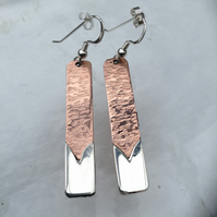 Slim Straight Copper and Fine silver earrings