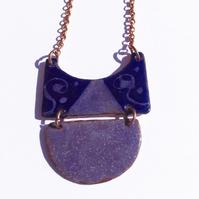 MODERN TRIBAL NECKLACE - SGRAFFITO ENAMELLED ROYAL & PURPLE ON COPPER