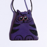PURPLE & BLACK HUMOROUS CAT PENDANT - SGRAFFITO ENAMELLING