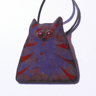 PURPLE & RED HUMOROUS CAT PENDANT - SGRAFFITO ENAMELLING