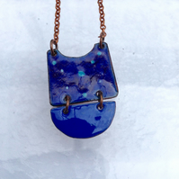 MODERN TRIBAL NECKLACE - SGRAFFITO ENAMELLED -LAPIS BLUE & PURPLE ON COPPER