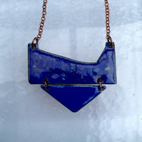 MODERN TRIBAL NECKLACE - SGRAFFITO ENAMELLED LAPIS BLUE & PURPLE ON COPPER