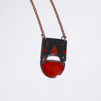 MODERN TRIBAL NECKLACE - SGRAFFITO ENAMELLED - RED & BLACK ON COPPER