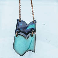 MODERN TRIBAL NECKLACE - SGRAFFITO ENAMELLED -ROYAL & SEA GREEN ON COPPER