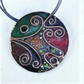 LARGE ROUND -CLOISONNE ENAMELLED NECKLACE - MULTI-COLOURED  STATEMENT PIECE!