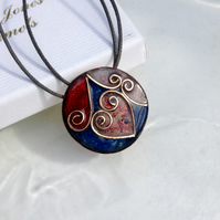 SMALL CLOISONNE ENAMELLED PENDANT - ROUND