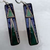 Royal blue enamelled modern earrings