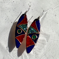 LEAF-SHAPED CLOISONNE ENAMELLED EARRINGS