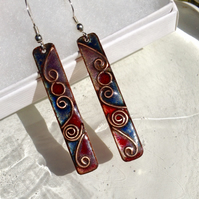 SLIM ENAMELLED MULTI-COLOURED CLOISONNE EARRINGS - ABSTRACT