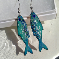 ENAMELLED FISH EARRINGS WITH STERLING SILVER SCALES