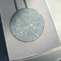 ENAMEL SEEDHEAD NECKLACE ON COPPER WITH STERLING SILVER WIRE