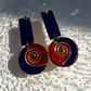 TWO-PIECE CLOISONNE ENAMELLED COPPER EARRINGS- OBLONG-ROUND DROPPERS