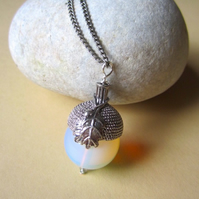 Ice Queen Large 20mm Opalite (Glass Opal) Autumnal Acorn Oak Leaf Long Necklace
