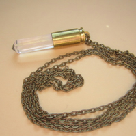 Crystal Point & Brass Bullet Long Necklace Vampire, Halloween, Gothic
