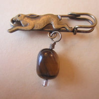 Tigers Eye Gemstone Nugget Leaping Hare Antique Bronze Kilt Pin Brooch