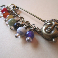 Bronze Tone Buddha & Ohm Om Aum Chakra Kilt Pin Brooch-Genuine Gems Unique to us