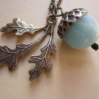 Pastel Green Amazonite & Brass Acorn Oak Leaf 18 inch Boxed Necklace