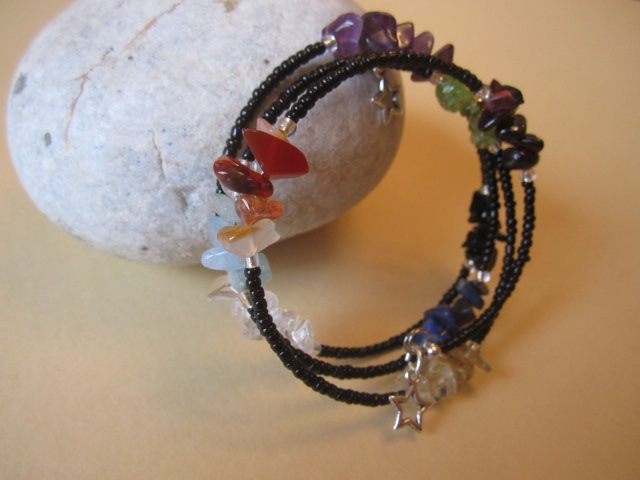 Chakra Genuine Gemstones Bangle Bracelet Black Beads with Star Dangles