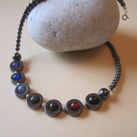 Hematite Rings Genuine Chakra Gemstones Necklace 16 inch Boxed Matches Necklace