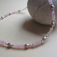 Pink Lilac Freshwater Pearl Sterling Silver 925 Rose Quartz Necklace- Bridal