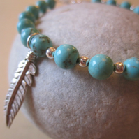 Turquoise Gem Sterling Silver Feather Hill Tribe South Western Style Bracelet