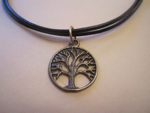 Bronze Tone Tree of Life Symbol Pendant Black Leather Layered Surf Necklace