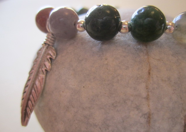 Autumnal Tone Indian Agate Bead Sterling Silver Hill Tribe Feather Leaf Bracelet