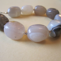 Statement Extra Chunky OOAK Sterling Silver Botswana Agate Gemstone Bracelet