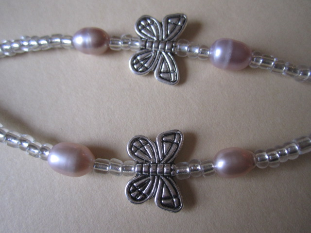 Spectacle Specs Glasses Chain Butterfly & Pink or White Freshwater Pearl