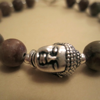 8mm African Agate Sterling Silver Beads Pewter Buddha Head Bracelet