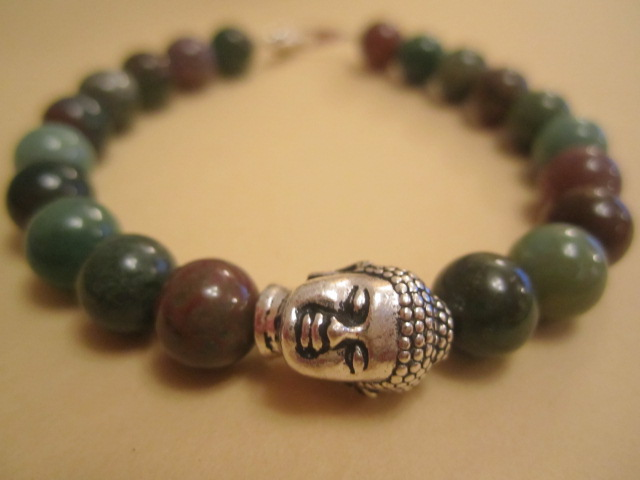 8mm Indian Agate Beaded Pewter Buddha Head Charm Sterling Silver Clasps