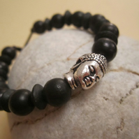 Black Wooden Pewter Buddha Head Leather Tie On Surf Ethic Bracelet Anklet Cuff