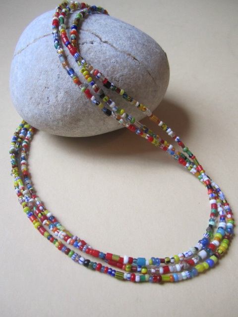 "African Christmas Love Trade Beaded Three Strand 18"" Necklace Sterling Silver"