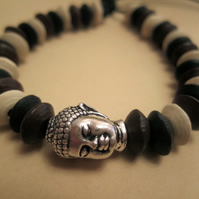 Multi Wooden Pewter Buddha Head Leather Tie On Surf Ethic Bracelet Anklet Cuff