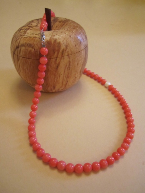 Natural Red Coral Off Centre Mother of Pearl Bead Beaded Gemstone Necklace OOAK