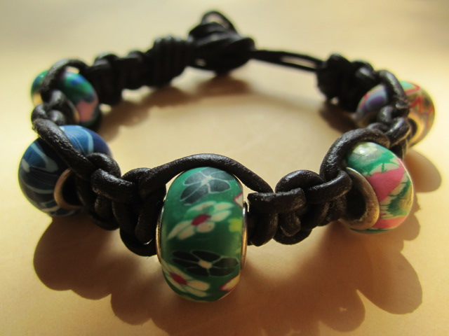 Knotted Leather Surf Bracelets with polymer Clays beads Hippy Chic