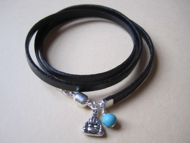 Black Leather Wrap Bracelet Cuff Surf Style turquoise Gemstone Bead Buddha Charm
