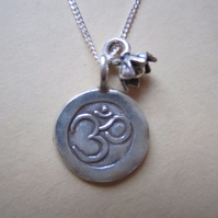 Sterling & Hilltribe Hill Tribe Silver Ohm Om Aum Lotus Flower Necklace