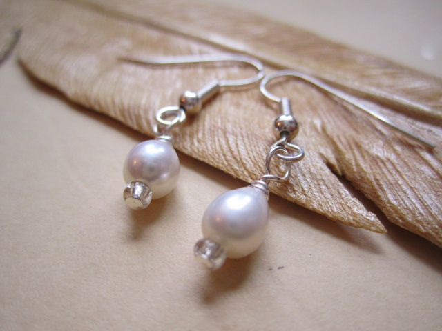 Sweet Cream Freshwater Pearl Silver Plated Earrings